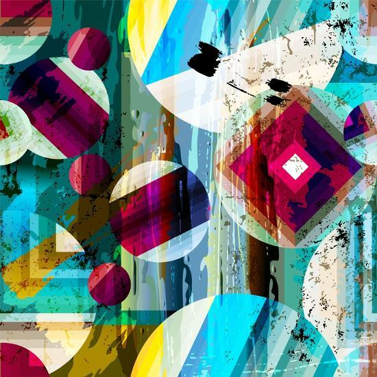 Abstract Geometric Pattern Background, with Circles, Strokes and Splashes, Seamless-Kirsten Hinte-Art Print