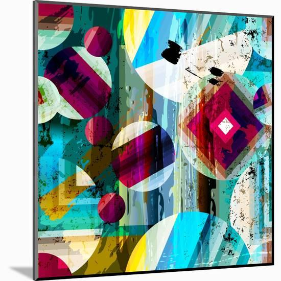 Abstract Geometric Pattern Background, with Circles, Strokes and Splashes, Seamless-Kirsten Hinte-Mounted Art Print