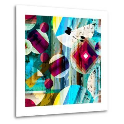 Abstract Geometric Pattern Background, with Circles, Strokes and Splashes, Seamless-Kirsten Hinte-Metal Print