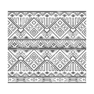 Abstract Geometric Seamless Aztec Pattern. Ikat Style Pattern-cherry blossom girl-Art Print