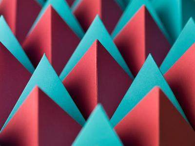 Abstract Geometrical Background with Colorful Paper Pyramids. Selective Focus- Abstract Oil Work-Photographic Print