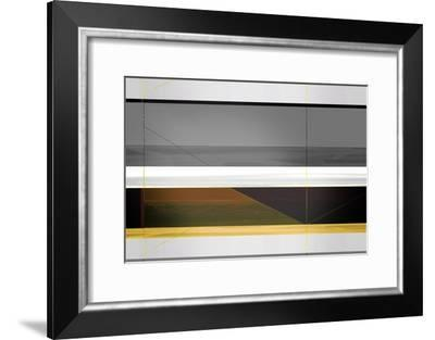Abstract Grey and Yellow Stripes-NaxArt-Framed Art Print