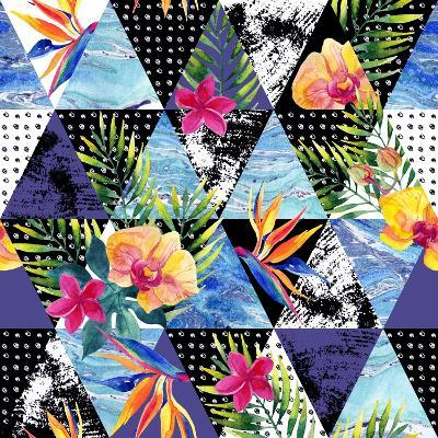 Abstract Grunge and Marble Triangles with Tropical Flowers, Leaves. Exotic Summer Background. Water-Syrytsyna Tetiana-Art Print