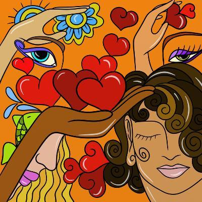 Abstract Hearts and Faces-goccedicolore-Art Print
