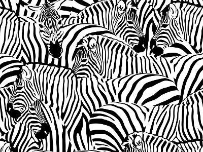 Abstract Illustration Herd of Zebras, Animal Seamless Pattern, Fashion Striped Print, Monochrome, C-Viktoriya Panasenko-Art Print