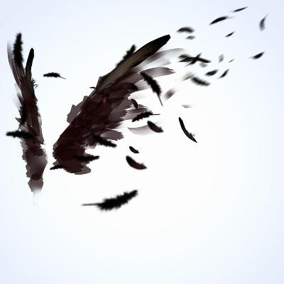 Abstract Image Of Black Wings Against Light Background-Sergey Nivens-Art Print