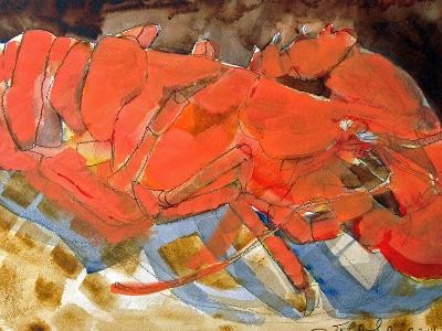 Abstract Lobster III-Erin McGee Ferrell-Art Print