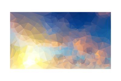 Abstract Low Poly Background, Geometry Triangle- teerawit-Art Print