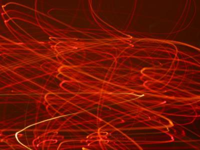 Abstract Motion Blur Pattern of Red Lights Swirling--Photographic Print