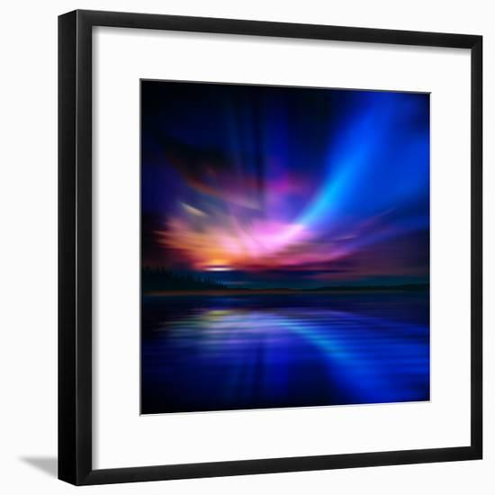 Abstract Nature Background with Aurora Borealis and Forest-Santa-Framed Photographic Print