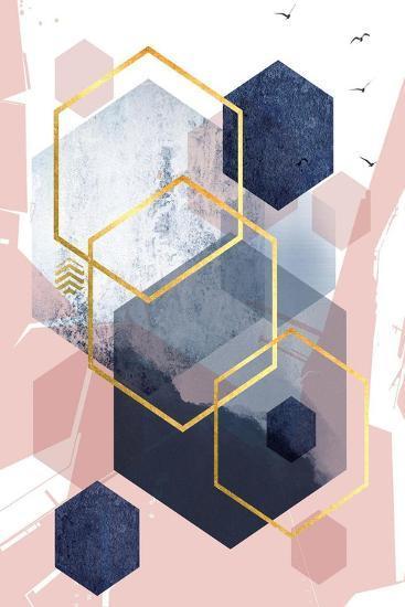 Abstract Navy Blush Gold 1-Urban Epiphany-Art Print