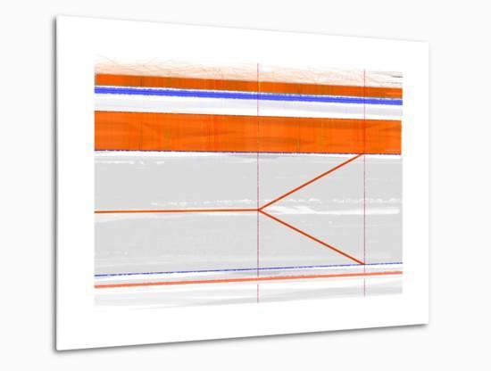 Abstract Orange and Grey-NaxArt-Metal Print