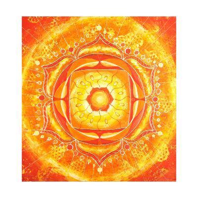 Abstract Orange Painted Picture with Circle Pattern, Mandala of Svadhisthana Chakra-shooarts-Art Print
