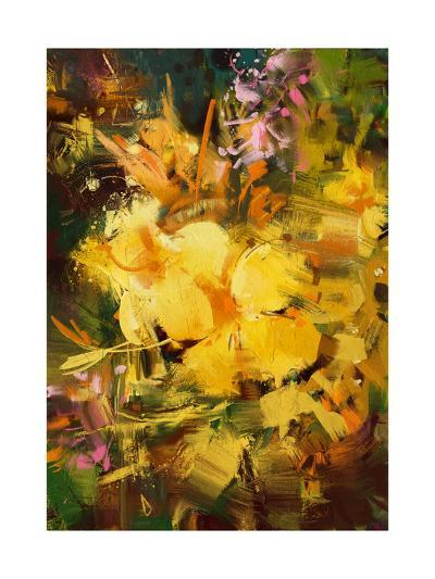 Abstract Painting of Vibrant Yellow Flowers,Illustration-Tithi Luadthong-Art Print