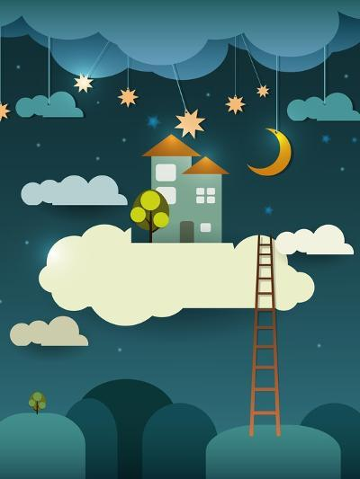 Abstract Paper Cut-Fantasy Home Sweet Home -Moon with Stars-Cloud and Sky at Night .Blank Cloud For-pluie_r-Art Print