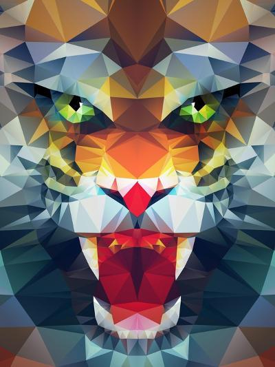 Abstract Polygonal Tiger. Geometric Hipster Illustration. Polygonal Poster- Merfin-Art Print