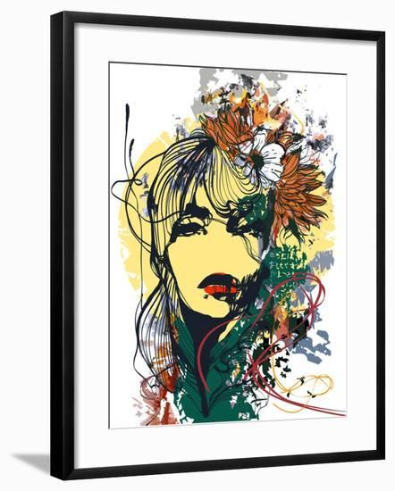 Abstract Print with Female Face, Painted Elements and Flowers-A Frants-Framed Art Print