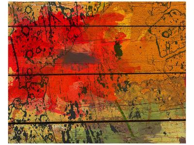 Abstract Red on Wood-Irena Orlov-Art Print