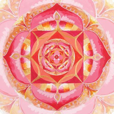 Abstract Red Painted Picture With Circle Pattern, Mandala Of Muladhara Chakra-shooarts-Art Print