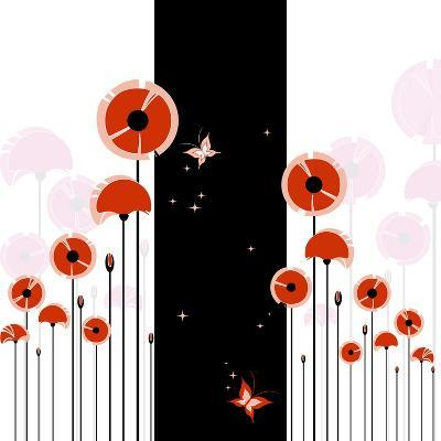 Abstract Red Poppy On Black And White Background-meikis-Art Print