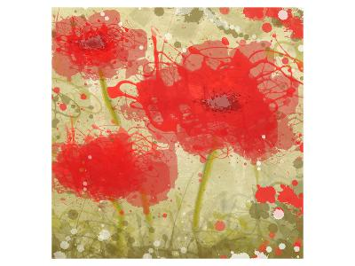 Abstract Red Poppy Trio-Irena Orlov-Art Print