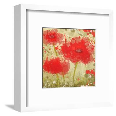 Abstract Red Poppy Trio-Irena Orlov-Framed Art Print