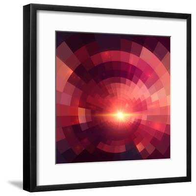 Abstract Red Shining Circle Tunnel Background-art_of_sun-Framed Premium Giclee Print