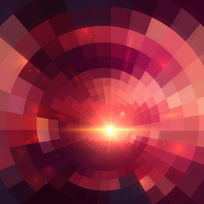 Abstract Red Shining Circle Tunnel Background-art_of_sun-Art Print