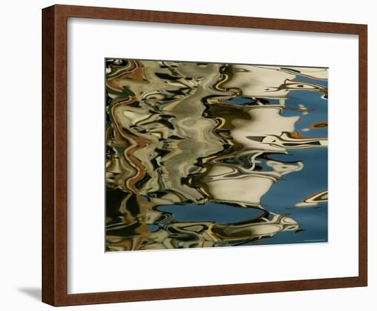 Abstract Reflections Formed by Rippling Water in a Venetian Canal, Venice, Italy-Todd Gipstein-Framed Photographic Print