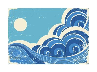 Abstract Sea Waves Grunge Illustration Of Sea Landscape-GeraKTV-Art Print
