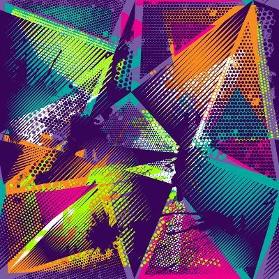 Abstract Seamless Geometric Pattern with Urban Elements, Scuffed, Drops, Sprays, Triangles, Neon Sp-Little Princess-Art Print