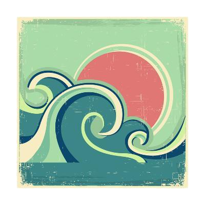 Abstract Seascape Poster With Sea Waves And Sun-GeraKTV-Art Print