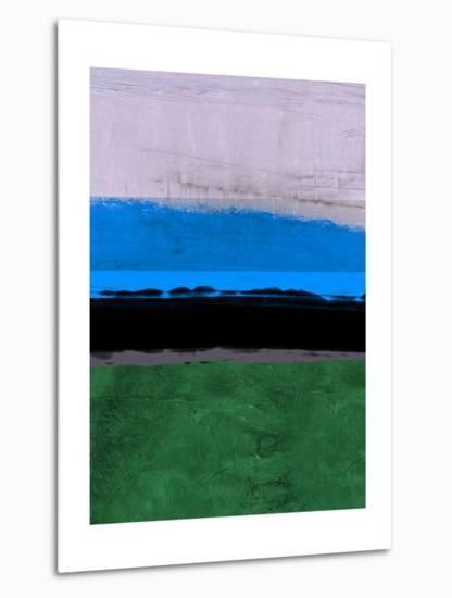 Abstract Stripe Theme Blue-NaxArt-Metal Print
