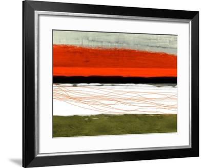 Abstract Stripe Theme Orange and Black-NaxArt-Framed Art Print