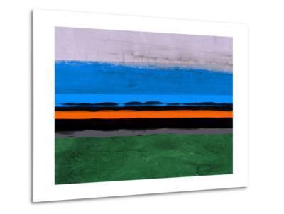 Abstract Stripe Theme Orange and Blue-NaxArt-Metal Print