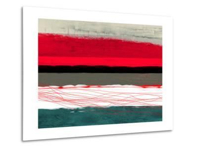 Abstract Stripe Theme Red Grey and White-NaxArt-Metal Print