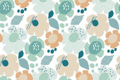 Abstract Stylized Floral. Abstract Pale Color Floral Seamless Pattern. Modern Textured Geometry Flo- Galyna_P-Art Print