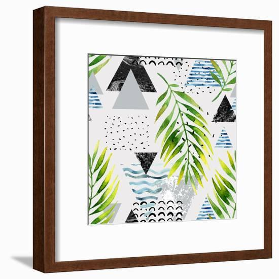 Abstract Summer Background - Triangles with Palm Tree Leaves-tanycya-Framed Art Print