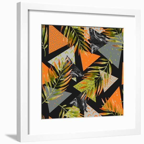 Abstract Summer Background - Triangles with Palm Tree Leaves-tanycya-Framed Premium Giclee Print
