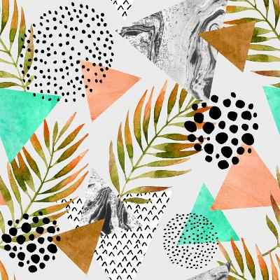 Abstract Summer Geometric Seamless Pattern. Triangles with Palm Leaf and Marble Grunge Textures. Ab-Syrytsyna Tetiana-Art Print