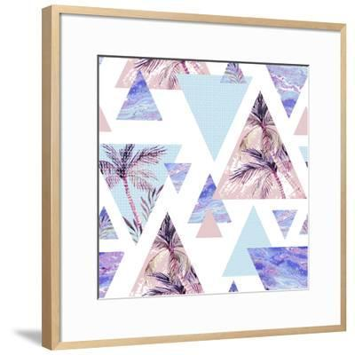 Abstract Summer Geometric Seamless Pattern-tanycya-Framed Art Print