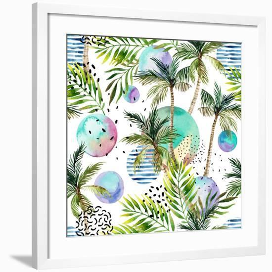 Abstract Summer Watercolor-tanycya-Framed Art Print