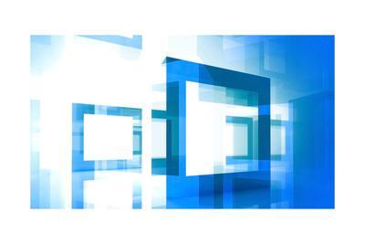 Abstract Technology Background With Blue Square Frames-Eugene Sergeev-Art Print
