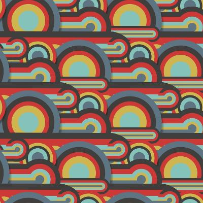 Abstract Textile Seamless Pattern of Colorful Circles and Lines-Dark ink-Art Print