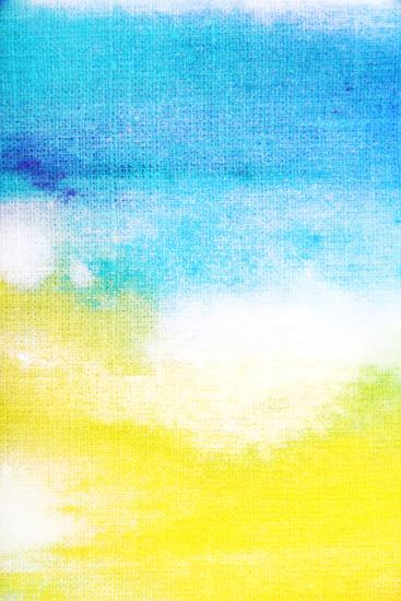 Abstract Textured Background: White and Yellow Patterns on Blue Sky-Like Backdrop. for Art Texture,-iulias-Art Print
