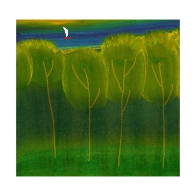 Abstract Trees with Sailboat--Art Print