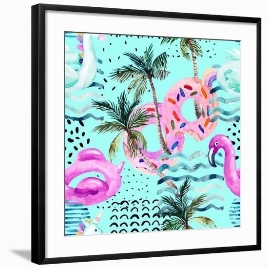 Abstract Tropical Geometric Pattern-tanycya-Framed Art Print