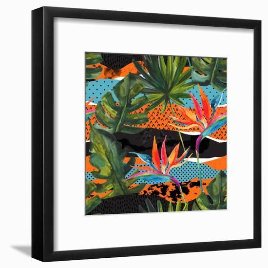 Abstract Tropical Summer Pattern - Watercolor Exotic Flower, Monstera, and Palm Leaves-tanycya-Framed Art Print
