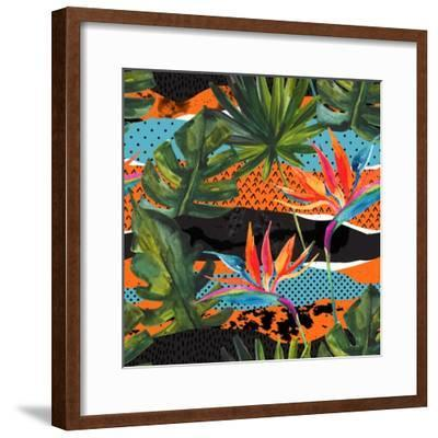 Abstract Tropical Summer Pattern - Watercolor Exotic Flower, Monstera, and Palm Leaves-tanycya-Framed Premium Giclee Print