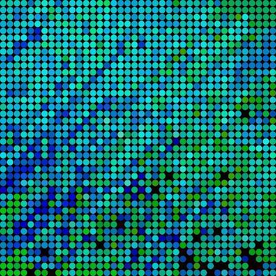 Abstract Vector Colored round Dots Background-Green Flame-Art Print